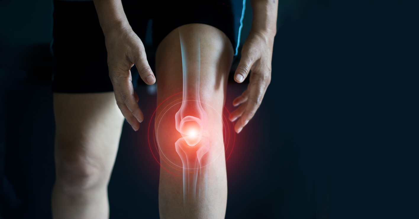 elderly person suffering osteoarthritis pain in knee